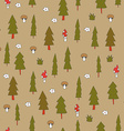 Cute seamless pattern with forest trees vector