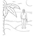 Sketch of the girl in swimsuit on the sunny beach vector