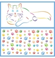 Color sketch of a cat and paws vector