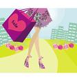 Shopping girl sale card vector