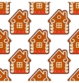 Seamless gingerbread pattern with people houses vector