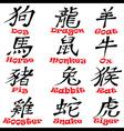 12 chinese hieroglyph zodiac signs design vector