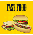 Fast food combo with a hamburger a hot dog and a s vector
