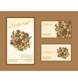 Set of business cards with floral design vector