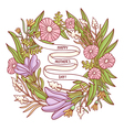 Happy mothers day beautiful floral wreath greeting vector
