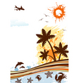 Summer frame with palm tree dolphin crab starfish vector