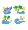 Summer beach insignia set vector