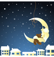 Moon and teddy baby greeting card vector