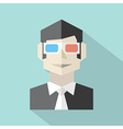 Man wearing 3d glasses icon vector