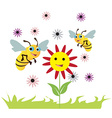 Bees over the flowers vector