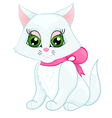 Cute white kitten with a pink bow on her neck vector