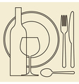Bottle wineglass plate and cutlery vector