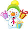 Little snowman with gift isolated on white vector