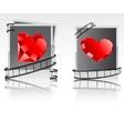 Black-white snapshots with red diamonds vector