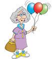 Cartoon senior citizen lady holding balloons vector