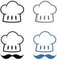 Chief hat with mustache collection vector