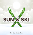 Sun ski and sun snow background vector