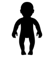 Full length front view standing baby silhouette vector