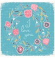Floral wreath beautiful greeting card with floral vector