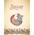 Easter card ethnic chick hand-drawn typography vector