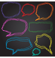 Set of 8 doodle style speech bubbles vector