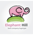 Rose elephant on the green hill vector