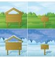 Wood sign on landscape set vector