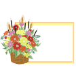 Basket of abstract flowers with frame vector