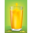 Falling piece of lemon in a glass of juice vector