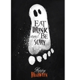 Ghosts halloween poster chalk vector