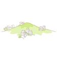 Buildings over green mountain vector