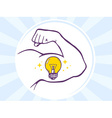 Strong man hand with icon of bulb light vector