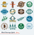 Mixed collection of beverages labels vector