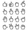 Set of unusual pixelated hand icons vector