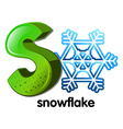 A letter s for snowflake vector