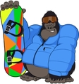 Monkey and snowboard vector