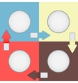 Four color squares with arrows vector