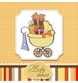 Baby shower card with gift boxes vector