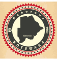 Vintage label-sticker cards of botswana vector