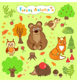 Children is drawings of cute forest animals vector