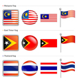Thailand and east timor malaysia flag icon vector
