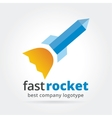 Abstract rocket logotype isolated on white vector