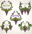 Set of grapes vintage wreathes vector