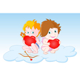 Cupids sitting on the cloud vector