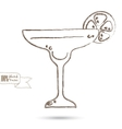 Sketch of wine glass isolated on the white vector