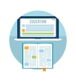 Book with laptop education concept vector