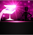 A woman holding a cocktail a sparkling background vector