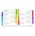 Calendar for 2014 in open book vector