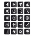 Glossy black square navigation web icons vector