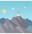 Flag on the mountain peak goal achievement vector
